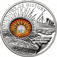 Cook Islands 2011 10$ 100 Years of Titanic Disaster Windows Of History Proof Silver Coin