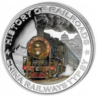 Liberia 2011 5$ China. History of Railroads Proof Silver Coin