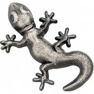 Silver Gecko 1 oz Antique finish Silver Coin 5$ Palau 2018