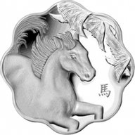 Canada 2014 15$ Year of the Horse Lunar Lotus  Proof Silver Coin