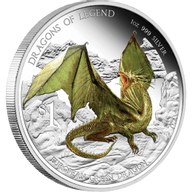 European Green Dragon 2013 Dragons of Legend Proof Silver Coin 1$ Tuvalu 2013