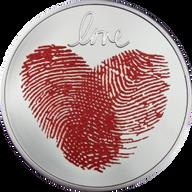 Love 1/2 oz Proof Silver Coin 2 Cedis Republic of Ghana 2021