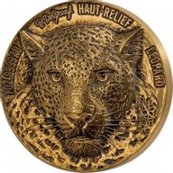 Greef Leopard Mauquoy Haut Relief Big five 1 oz Antique finish Gold Coin 100 francs Ivory Coast 2021