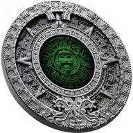 Aztec Calendar 2oz Antique Finish Silver Coin 2$ Niue 2019