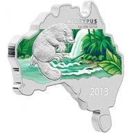 Australia 2013 1$ Platypus - map-shape  Silver coin