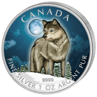Wolf Colored Wildlife Series UNC Silver Coin 5$ Canada 2011