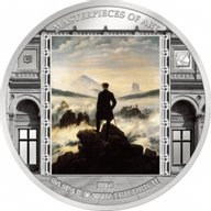 Cook Islands 2016 20$ Wanderer above the Sea of Fog by Caspar David Friedrich - Masterpieces of Art 3 oz Proof Silver Coin