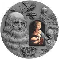 500th Anniversary of Leonardo Da Vinci's Death 2 oz Antique Finish & Black Proof Silver Coin 2000 Francs CFA Cameroon 2019