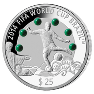 Fiji 2013 25$ 2014 FIFA World Cup Brazil – Malachite Coin 3 Oz Proof Silver Coin
