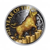 Year of the Ox Ox on Money Proof Solver Coin 50 cents Niue 2021
