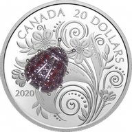 Ladybug Bejeweled Bugs 31.39 g Proof Silver Coin 20$ Canada 2020