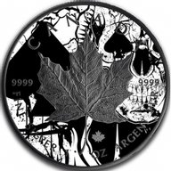 Maple Spades Skull Card Suit 1oz Black Ruthenium BU Silver Coin 5$ Canada 2018