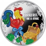 Year of the Rooster Cockerel On A Stick Proof Silver Coin 500 Francs Cameroon 2017