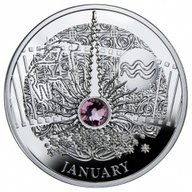 JANUARY  The Magic Stones of Happiness  Proof silver Coin  1$ Niue 2014