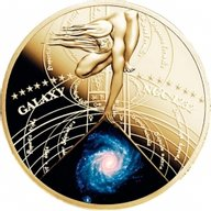Niue 2015 0.5$ Spiral Galaxy NGC 1232  The Most Beautiful Galaxies Proof Brass Goldplated Coin