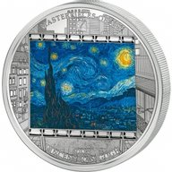 """Cook Islands 2015 20$ """"Starry Night"""" Vincent Van Gogh Masterpieces of Art 3 oz Proof Silver Coin"""