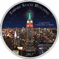 Cameroon 2015 1500 Francs Landmarks at Night - Empire State Building BU Silver Coin