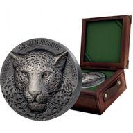 Mauquoy Haut Relief Leopard Big five 1 Kilo Antique finish Silver Coin 10000 francs Ivory Coast 2019
