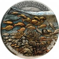 Great Barrier Reef Nature is Danger 1 Kilo Antique Finish Silver Coin 10000 Francs CFA Benin 2021