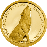 Mongolia 2013 500 togrog  Canis lupus chanco  Endangered Wildlife   Proof Gold Coin