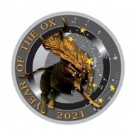 Year of the Ox Ox with Stars Proof Solver Coin 50 cents Niue 2021
