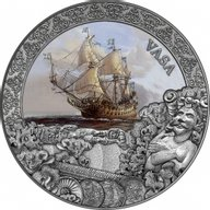 Vasa Grand Shipwrecks in a History 2 oz Antique finish Silver Coin 5$ Niue 2021