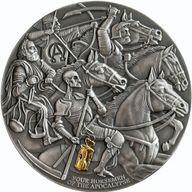 Four Horsemen of The Apocalypse Apocalypse 3 oz Antique finish Silver Coin 3000 Francs CFA Cameroon 2019