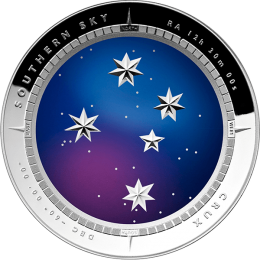 Australia 2012 5$ Color Domed - Crux Southern Sky Proof Silver Coin