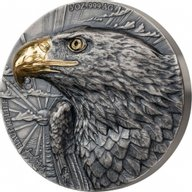 De Greef Eagle Signature Edition  2 x 5oz Antique finish Silver Set 2 x 5000 francs Ivory Coast 2020