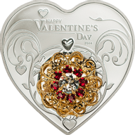 Cook Islands 2013 5$ Happy Valentine's Day 2014 Proof Silver Coin