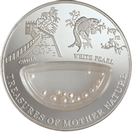 Fiji 2012 1$ China - White Pearl Treasures of Mother Nature Proof Silver Coin