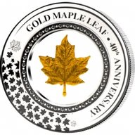 Maple Leaf Embracing Gold 0.2 g Gold 2oz Proof Silver Coin 5$ Solomon Islands 2019