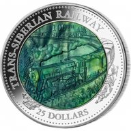Cook Islands 2016 25$  Trans-Siberian Railway 5 oz with Mother of Pearl Proof Silver Coin
