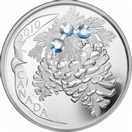 Canada 2010 20$ Moonlight Holiday Pine Cones (2010) Proof Silver Coin