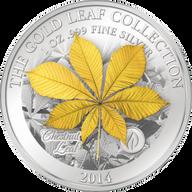 Samoa 2015 10$ Chestnut Leaf 3D Gold Leaves 1oz Proof Silver Coin