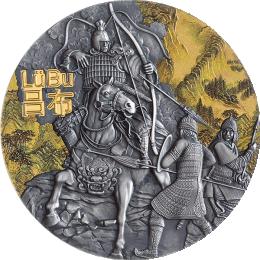 Lu Bu Warriors of Ancient China 3 oz Antique finish Silver Coin 5$ Niue 2019