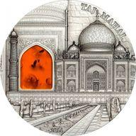 Palau 2014 10$ Taj Mahal  Mineral Art 2 oz Antique finish Silver Coin