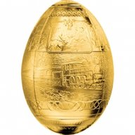Cameroon 2016 5000 Francs Trans-Siberian Railway Egg Imperial Faberge Eggs 3D 7oz Proof Gilded Silver Coin