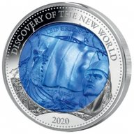 Discovery of the New World - Leif Eriksson Mother of Pearl 5 oz  Proof  Silver Coin 25$ Solomon Islands 2020