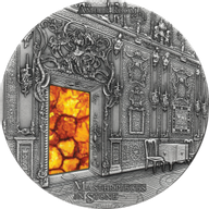 Amber Room Masterpieces in Stone 3 oz Antique finish Silver Coin 10$ Fiji 2015