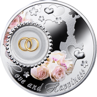 Wedding coin LOVE AND HAPPINESS Proof Silver Coin 2$ Niue 2014