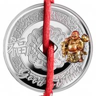 Laughing Buddha Symbols of Feng Shui Proof Silver Coin 500 Francs Cameroon 2017