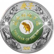 Lunar 2020 - Year of the Rat  2 oz with Jade Proof Silver Coin 2000 Kip Laos 2020