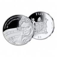 Beethoven 250th Anniversary 1oz Proof Silver Coin 1$ Fiji 2020
