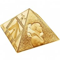 Niue 2014 15$ The Great Pyramids Masterpiece of Mint Art  3 oz Proof Silver Gold Pleated Coin