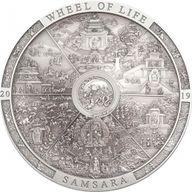 Samsara Wheel of Life Archeology & Symbolism 3 oz Antique finish Silver Coin 20$ Cook Islands 2019