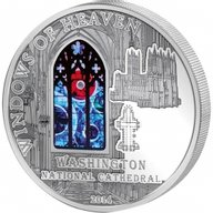 Cook Islands 2014 10$ Washington Cathedral   Windows Of Heaven Proof-like Silver Coin