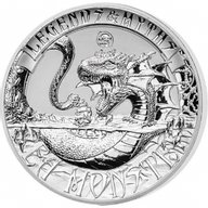 Solomon Islands 2017 5$ Sea Monster Legends and Myths 2oz Reverse Proof Silver Coin