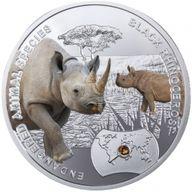 Black Rhinoceros - Endangered Animal Species 1/2 Oz Proof Silver Coin 1$ Niue 2014