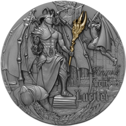 Lucifer Angels and Demons 2 oz Antique finish Silver Coin 5$ Niue 2021